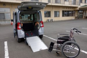 Wheelchair Next to Lift on Non-Emergency Van